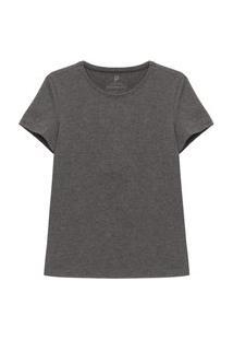 Camiseta Reta Feminina Gola C Cinza