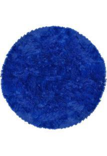 Tapete Saturs Shaggy Pelo Alto Azul Redondo 110 Cm Tapete Para Sala E Quarto