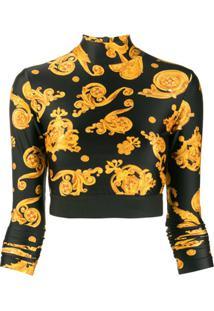 Versace Jeans Couture Blusa Cropped Com Estampa Barroca - Preto