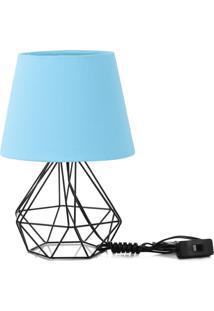 Abajur Diamante Dome Azul Bebe Com Aramado Preto