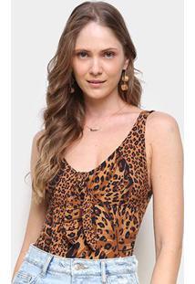 Body Farm Alça Costela De Onça - Feminino-Amarelo