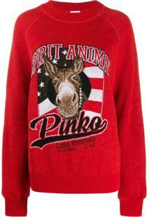 Pinko Suéter Spirit Animal - Vermelho
