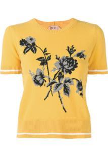 Nº21 Blusa De Tricô Com Padronagem Floral - Amarelo