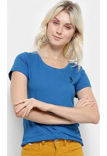 Camiseta Top Moda Bordado Feminina - Feminino-Azul