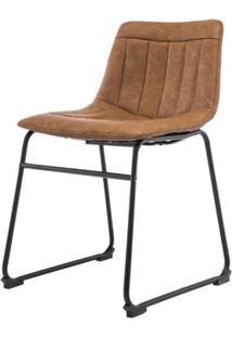 Cadeira Tamara Assento Courino Marrom Com Base Aco Preto - 47345 - Sun House