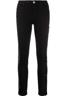 Twin-Set Calça Jeans Skinny Com Aplicação De Paetês - Preto