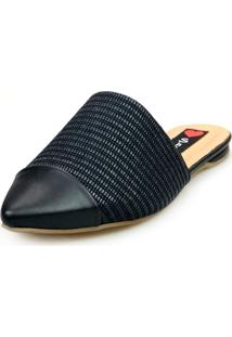 Sapatilha Love Shoes Mule Captoe Rafia Preto