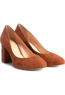 Scarpin Couro Shoestock Salto Médio Básico - Feminino-Caramelo