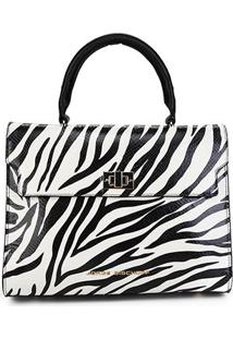 Bolsa Couro Jorge Bischoff Animal Print Zebra Feminina - Feminino-Branco+Preto