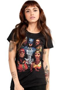 Camiseta Liga Da Justiça Dc Comics Poster Bandup! Feminina - Feminino-Preto
