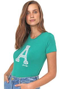 Camiseta Aeropostale Bordada Verde