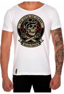 Camiseta Lucas Lunny T Shirt Gola Canoa Estampada Caveira Motoqueiro