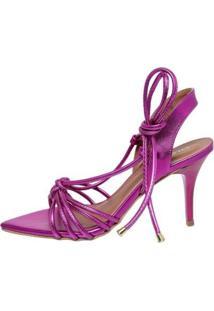 Sandália Metalizada Di Scarp Feminina - Feminino-Pink