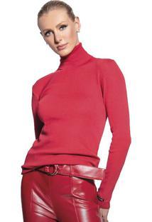 Blusa Feminina Básica Biamar Gola Alta Malharia Vermelho - U