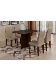 Conjunto De Mesa De Jantar Com 4 Cadeiras Ane Ii Suede Amassado Castor E Chocolate