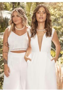 Vestido Longo Branco Decote V Profundo