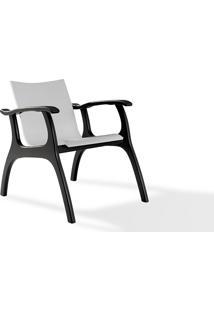 Poltrona Decorativa De Madeira - Poltrona Para Recepção - Laca Preto E Branco - Calvin - 66X77X67 Cm