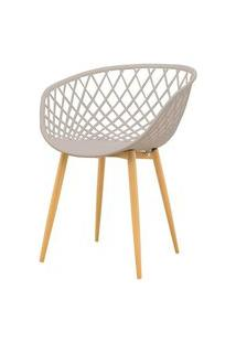 Cadeira Clarice Assento Em Polipropileno Nude Com Base Palito Cor Madeira - 51839 Preto