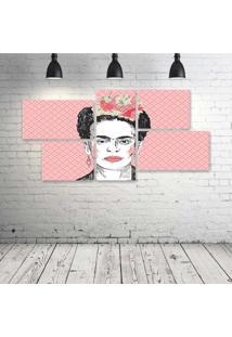 Quadro Decorativo - Frida-Pink - Composto De 5 Quadros