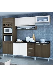 Cozinha Compacta 10 Portas Stella 0420T Castanho/Branco - Genialflex