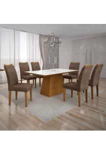Conjunto Sala De Jantar Mesa Tampo Mdf/Vidro Branco E 6 Cadeiras Pampulha Leifer Imbuia Mel/Linho