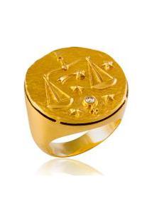 Anel Zodiaco Libra Amarelo C/ Diamante Chocolate