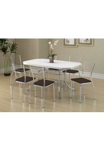 Mesa 1507 Branca Cromada Com 6 Cadeiras 1700 Cacau Carraro