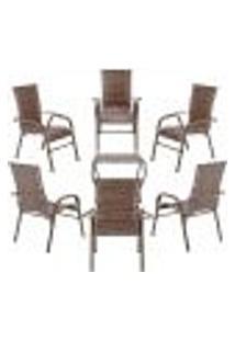 Conjunto Mesa Baixa E 6 Cadeiras Para Área Edicula Jardim Bela, Ferro E Fibra Trama Fechada Argila