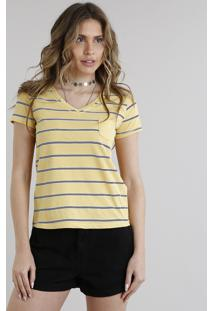 Blusa Feminina Básica Listrada Com Bolso Decote V Manga Curta Amarela