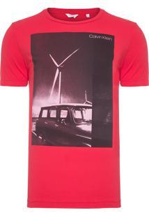 Camiseta Masculina Slim Estampa Carro - Vermelho