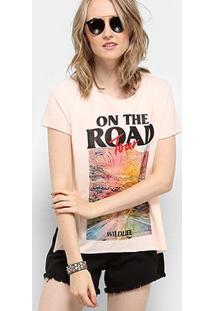 Camiseta Drezzup Estampada Fenda Lateral Feminina - Feminino-Rosa Claro