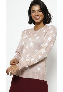 Blusa Em Tricot Estrelas- Rosa & Branca- Ponto Aguiaponto Aguiar