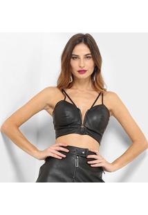 Top Com Bojo Acostamento Fashion - Feminino-Preto