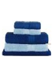 Jogo De Banho 05 Peças Padrão Fio Penteado Buddemeyer - Azul Claro E Azul Escuro