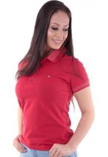 Camisa Polo Regular Pé De Gola Traymon Feminina - Feminino-Vermelho