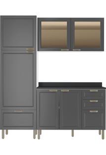 Cozinha Modulada 4 Peças Com Tampo E Nevada 5902Vdtp-Multimóveis - Branco Premium / Grafite Premium
