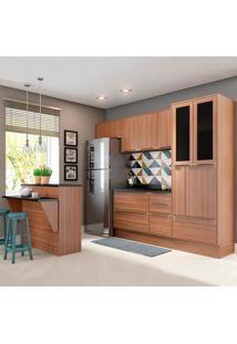 Cozinha Compacta 12 Portas C/ Bancada E Rodapé 5463R Nogueira/Malt - Multimóveis