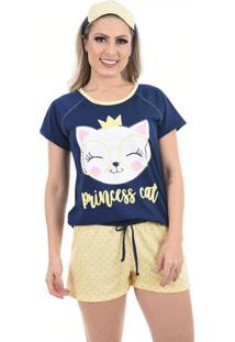 Pijama Baby Doll 4 Estações Gatinho Estampado Noite Verão Feminino Azul