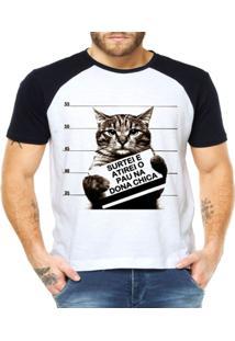 Camiseta Raglan Criativa Urbana Gato Preso Frase Engraçada - Masculino-Branco