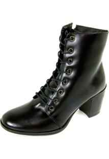 Bota Ankle Boot Dhatz Possui Cadarço Salto Médio Preto