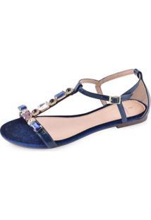 Sandália La Femme Elegance Veludo Eclipse - Feminino-Azul