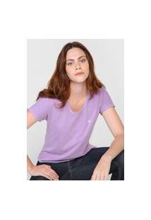 Blusa Calvin Klein Jeans Slim Lettering Roxa