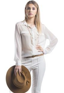 Camisa Marcia Mello Abertura Costa Branco