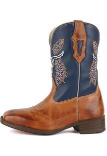 Bota Country Sapatofran Texana Bico Quadrado Cara De Boi Marinho