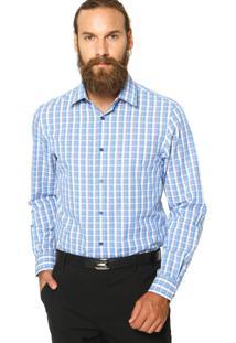 Camisa Perry Ellis Clássic Xadrez Azul/Branco