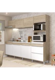 Cozinha Compacta 7 Portas 3 Gavetas Com Pé Slim Decibal Acácia/Branco