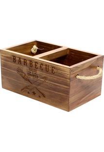 Porta Talheres Barbecue- Marrom- 11,5X25X15Cm- Ddecor Glass