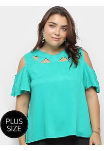 Blusa Heli Open Shoulder Ciganinha Plus Size Feminina - Feminino-Verde