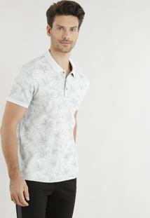 Polo Masculina Slim Fit Mescla Estampada Floral Manga Curta Off White