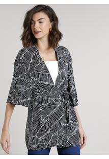 Kimono Feminino Estampado De Folhagens Com Faixa Para Amarração Preto